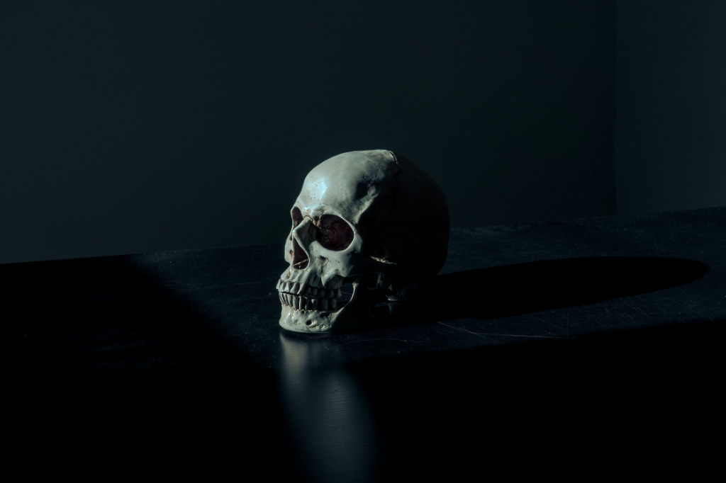 A human skull figurine on a black surface.