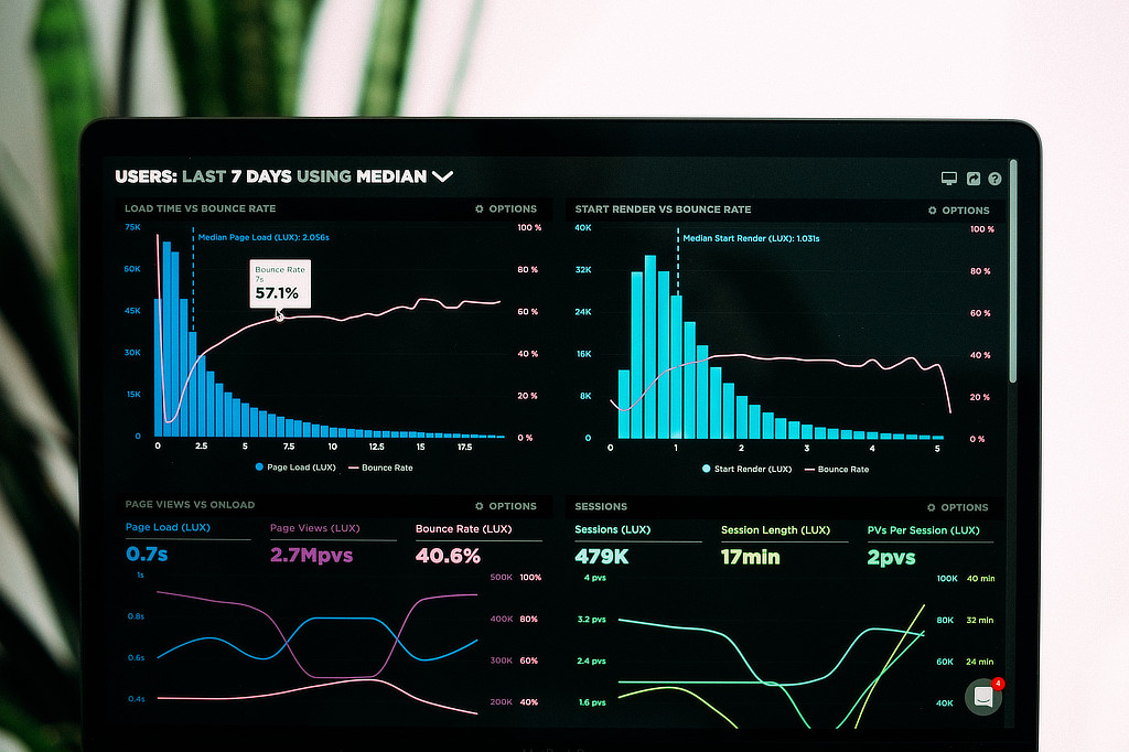 Graphs of performance analytics on a laptop screen.
