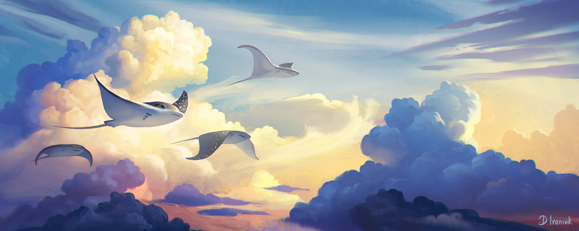 Four stingrays flying among dreamy clouds.