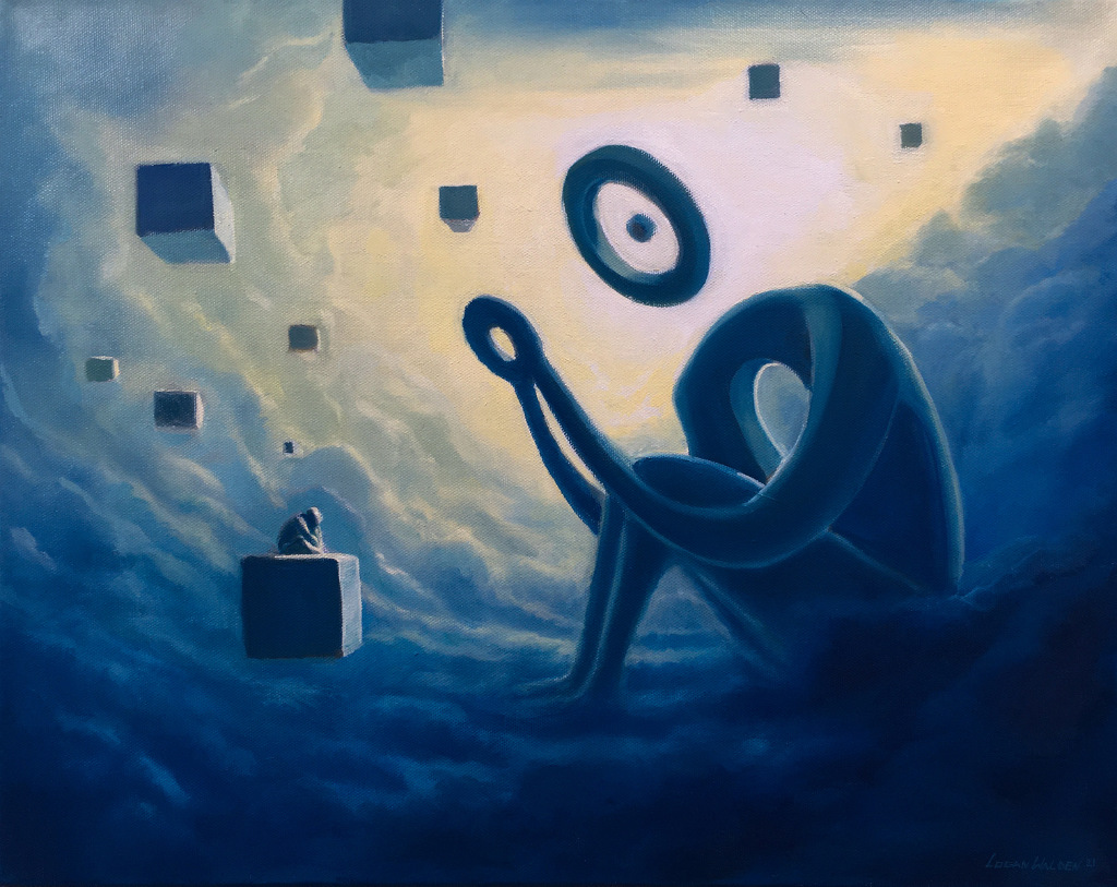 A surreal artwork with characters made of geometric shapes sitting in the clouds.