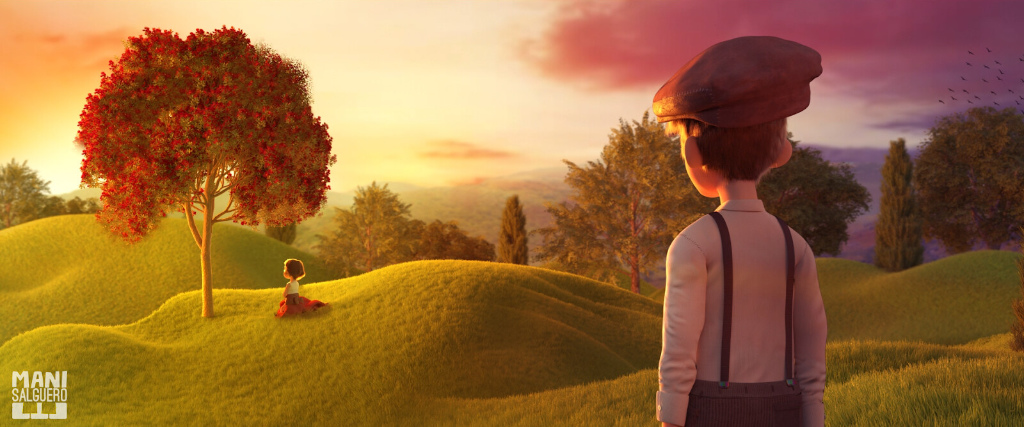 An art piece with a boy lovingly looking at a girl sitting under a tree in a meadow during sunrise.